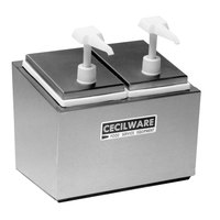 Cecilware 244E Economy Pumps Stainless Steel Condiment Rail with Two Plastic Pumps, Jars, and Covers