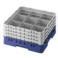 Cambro 9S1114186 Navy Blue Camrack 9 Compartment 11 3/4 inch Glass Rack