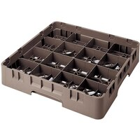 Cambro 16S418167 Camrack 4 1/2 inch High Brown 16 Compartment Glass Rack