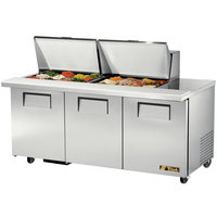 True TSSU-72-24M-B-ST 72 inch Mega Top Three Door Sandwich / Salad Prep Refrigerator