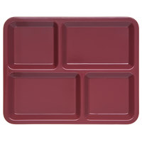 Carlisle KL44485 4-Compartment Dark Cranberry Melamine Tray - 11 inch x 8 11/16 inch