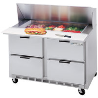 Beverage Air SPED48-12M-4 48 inch Mega Top Refrigerated Salad / Sandwich Prep Table with 4 Drawers