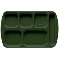 GET TR-151 Hunter Green Melamine 10 inch x 15 1/2 inch Right Hand 6 Compartment Tray - 12 / Pack