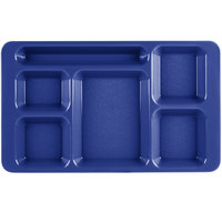 Cambro 1596CW186 Camwear (2 x 2) 9 inch x 15 inch Navy Blue Six Compartment Serving Tray - 24/Case