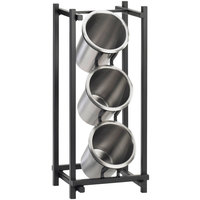 Cal-Mil 1134-13 Black One By One Three Compartment Metal Silverware Holder - 7 1/2 inch x 6 1/2 inch x 17 3/4 inch