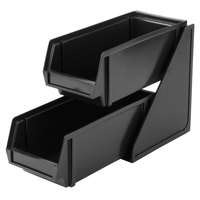 Vollrath 4841-06 Traex Black Self-Serve Condiment Bin Stand Set with 2-Tier Stand and 11 1/4 inch Condiment Bins