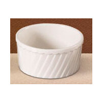 CAC RKF-24-S Bone White Fluted Souffle Bowl 24 oz. - 24/Case