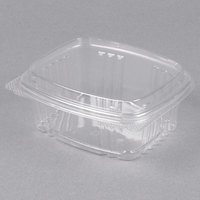 Genpak AD12F 5 3/8 inch x 4 1/2 inch x 2 7/8 inch 12 oz. Clear Hinged Deli Container with High Dome Lid - 200/Case