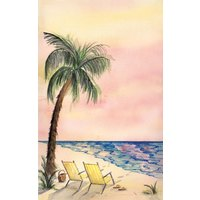 8 1/2 inch x 11 inch Menu Paper - Tropical Themed Palm Tree Design Cover - 100/Pack