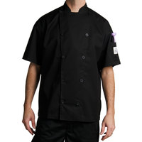 Chef Revival J045BK-L Chef-Tex Size 46 (L) Black Customizable Poly-Cotton Traditional Short Sleeve Chef Jacket