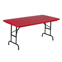 Correll R-Series R3072 30 inch x 72 inch Red Plastic Folding Table