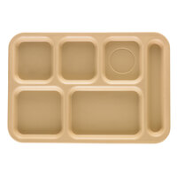 Cambro PS1014161 Penny-Saver 10 inch x 14 1/2 inch Beige 6 Compartment Serving Tray - 24/Case