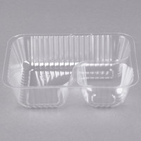 Carnival King Clear 2 Compartment Plastic Nacho Tray - 125/Pack