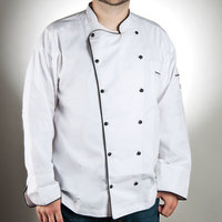 Chef Revival J044-S Chef-Tex Breeze Size 36 (S) Customizable Poly-Cotton Brigade Chef Jacket with Black Piping