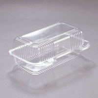 Dart PET35UT1 StayLock 9 inch x 5 3/8 inch x 3 1/2 inch Clear Hinged PET Plastic 9 inch Medium Oblong Container - 250/Case