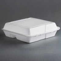 Dart Solo 95HT3R 9 1/2 inch x 9 inch x 3 inch White Foam Three-Compartment Square Take Out Container with Hinged Lid - 200 / Case