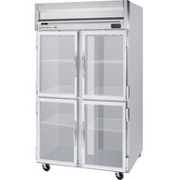 Beverage Air HRPS2-1HG-LED 2 Section Glass Half Door Reach-In Refrigerator - 49 cu. ft., SS Exterior and Interior