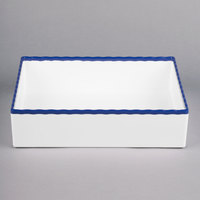 Tablecraft M12765BL 1/2 Size 3 inch Deep White Straight Sided Melamine Gastronorm Pan with Blue Trim