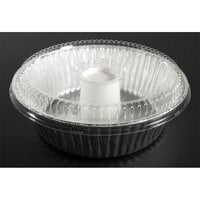 D&;W Fine Pack D61 8 inch Aluminum Foil Angel Food Pan with Clear Dome Lid - 10/Pack