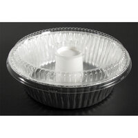 D&W Fine Pack D61 8 inch Aluminum Foil Angel Food Pan with Clear Dome Lid   - 10/Pack