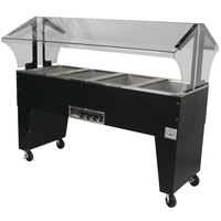 Advance Tabco B4-120-B-S Open Base Everyday Buffet Stainless Steel Four Pan Electric Hot Food Table with Stainless Steel Liners - Open Well - 120V