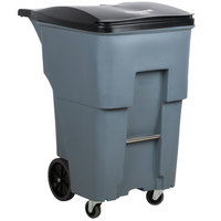 Rubbermaid 1971994 Brute 95 Gallon Gray Standard Rollout Container with Lid and Casters