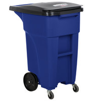 Rubbermaid 1971949 Brute 32 Gallon Blue Standard Rollout Container with Lid and Casters