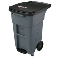 Rubbermaid 1971950 Brute 32 Gallon Gray Step-On Rollout Container with Lid and Casters