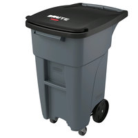 Rubbermaid 1971947 Brute 32 Gallon Gray Standard Rollout Container with Lid and Casters