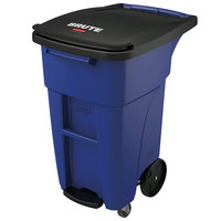 Rubbermaid 1971952 Brute 32 Gallon Blue Step-On Rollout Container with Lid and Casters