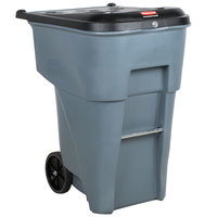 Rubbermaid FG9W1188GRAY Brute 95 Gallon Gray Confidential Document Rollout Container with Locking Lid