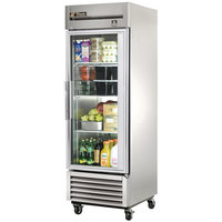 True TS-23G-LD One Section Glass Door Reach In Refrigerator with LED Lighting - 23 Cu. Ft.