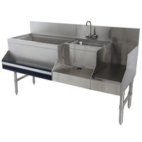 Advance Tabco PRU-24-48L-10 Prestige Series Stainless Steel Uni-Serv Speed Bar with 10-Circuit Cold Plate - 48 inch x 30 inch (Left Side Ice Bin)