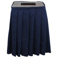 Buffet Enhancements 1BCTV20SET Black Square Topper with Navy Skirting for 35 Gallon Trash Cans
