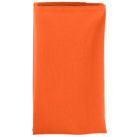 18 inch x 18 inch Orange Hemmed Polyspun Cloth Napkin - 12/Pack