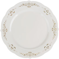 Fineline 5975-BOG Heritage 7 1/2 inch Round Bone / Ivory Plastic Plate with Gold Trim - 10/Pack