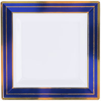 Fineline 5504-WHBG Silver Splendor 4 1/2 inch Square White Plastic Plate with Blue Rim and Gold Bands - 10/Pack