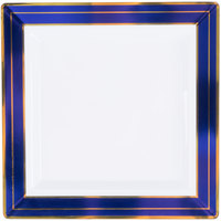 Fineline 5507-WHBG Silver Splendor 7 1/4 inch Square White Plastic Plate with Blue Rim and Gold Bands - 10/Pack