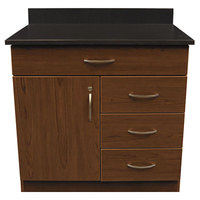 Alera Plus AAPBR103CY 36 inch x 25 inch x 40 inch Cherry Hospitality Base Cabinet with One Door and Four Drawers
