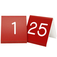 Cal-Mil 269A-1 Red Engraved Number Tent Sign Set 1-25 - 3 inch x 3 inch