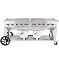 Crown Verity CCB-72-LP 72 inch Outdoor Club Grill with 2 Horizontal Propane Tanks
