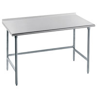 Advance Tabco TFAG-365 36 inch x 60 inch 16 Gauge Super Saver Commercial Work Table with 1 1/2 inch Backsplash