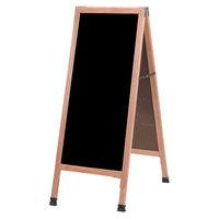 Aarco 42 inch x 18 inch Oak A-Frame Sign Board with Black Write-On Acrylic Marker Board