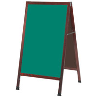 Aarco 42 inch x 24 inch Cherry A-Frame Sign Board with Green Write-On Chalk Board