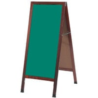 Aarco 42 inch x 18 inch Cherry A-Frame Sign Board with Green Write-On Chalk Board