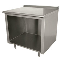 Advance Tabco EF-SS-243 24 inch x 36 inch 14 Gauge Open Front Cabinet Base Work Table with 1 1/2 inch Backsplash