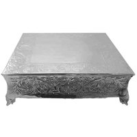 Tabletop Classics AC-87722 22 inch Ornate Nickel Plated Square Cake Stand
