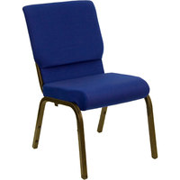 Navy Blue 18 1/2 inch Wide Church Chair with Gold Vein Frame
