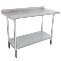 "Advance Tabco SFLAG-242-X 24"" x 24"" 16 Gauge Stainless Steel Work Table with 1 1/2"" Backsplash and Stainless Steel Undershelf"