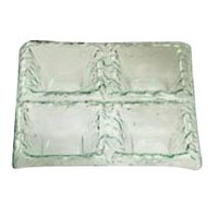 Service Ideas Tuscany Glass Nuvola 1803CL 11 inch x 11 inch Clear 4 Compartment Dish with Green Tint 6/Case
